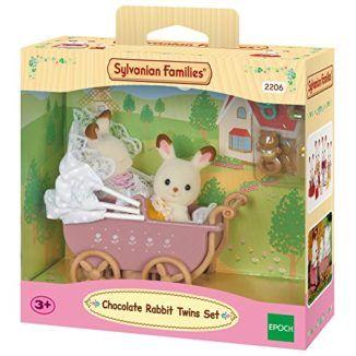 Sylvanian-Families-Set-gemelos-conejos-chocolate-con-cochecito-Epoch-2206-0